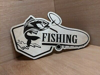 Fishing Sign Plaque Gift • 14.99£