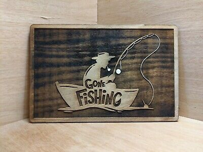 Gone Fishing Sign Plaque Carved • 24.99£