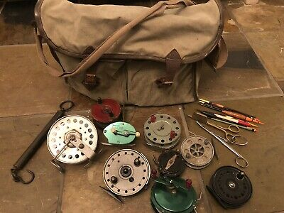 9 X Vintage Fishing Reels Inc. Satchel Bag, Line Scissors And Floats • 1.24£