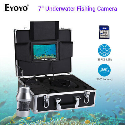 Eyoyo 360° Panning 7  Monitor IR Underwater Fishing Camera Fishfinder 36LED+8GB • 376.84£