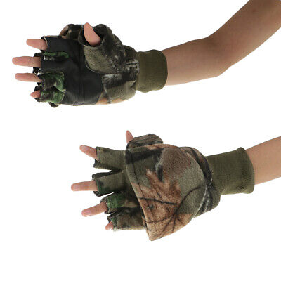 Convertible Fingerless Gloves With Mitten Cover For Fishing Hunting Cycling • 6.75£